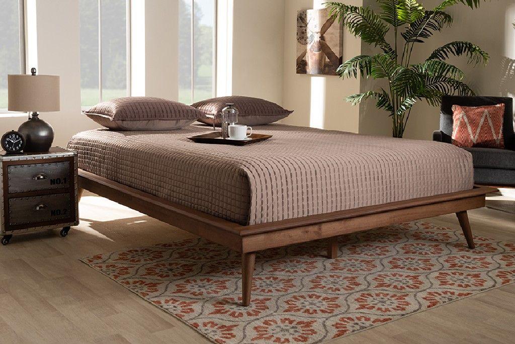 baxton studio karine mid century modern walnut brown finished wood queen size platform bed frame mg0004 ash walnut queen frame