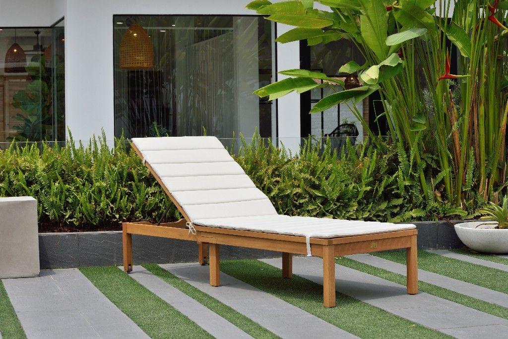 amazonia regatta patio chaise lounger durable outdoor furniture w teak finish grey cushion international home sc louisiana lot gr