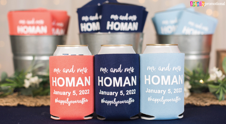 Coral Wedding Beer Cooler Favors