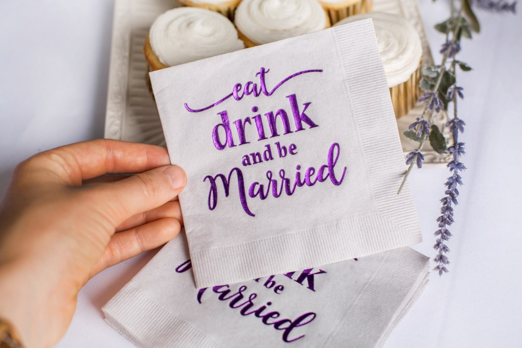 eat drink and be married napkins