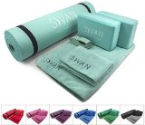 """Sivan Health and Fitness Yoga Set 6-Piece- Includes 1/2"""" Ultra Thick NBR Exercise Mat, 2 Yoga Blocks, 1 Yoga Mat Towel, 1 Yoga Hand Towel and a Yoga Strap"""