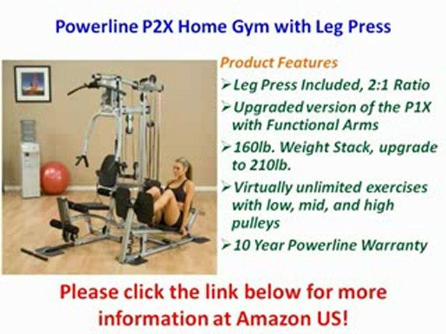 Powerline Home Gym with Leg Press, Grey/Black