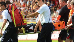 Gareth O'Brien left the field on a stretcher on Saturday much to the anger of Saints coach Nathan Brown