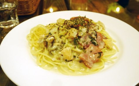 Bacon and salmon pasta with a cream sauce