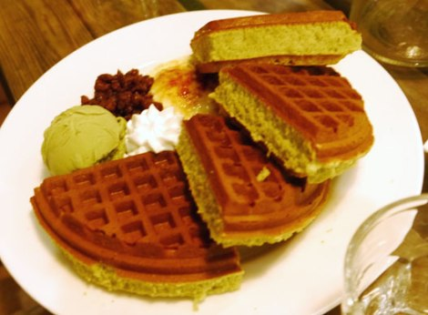 Matcha waffles with red bean