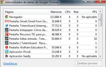 Administrador Tareas Chrome