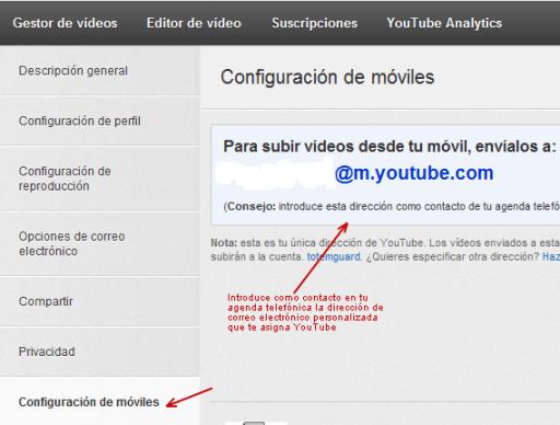 Subir un video a YouTube via móvil