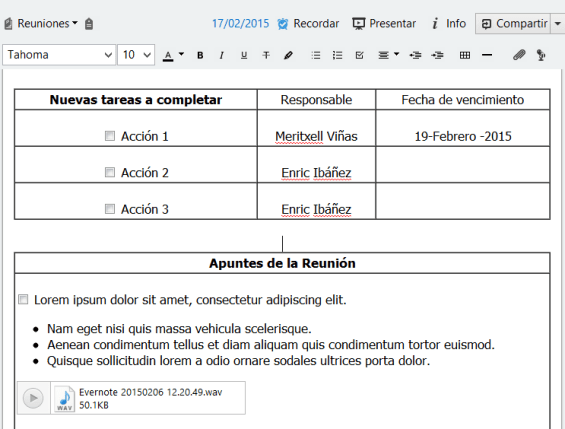 Acciones a completar evernote