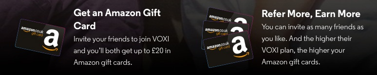 voxi refer a friend Amazon gift card