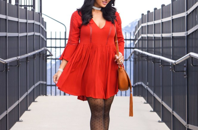 Debbie Savage of To Thine Own Style Be True Loves Shein's Red Crochet Trim Ruffle Sleeve Dress