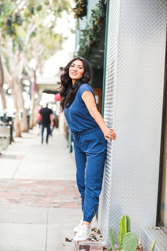 Effortless Style with Albion Fit | Navy Jumpsuit | To Thine Own Style Be True | Petite Fashion Blog