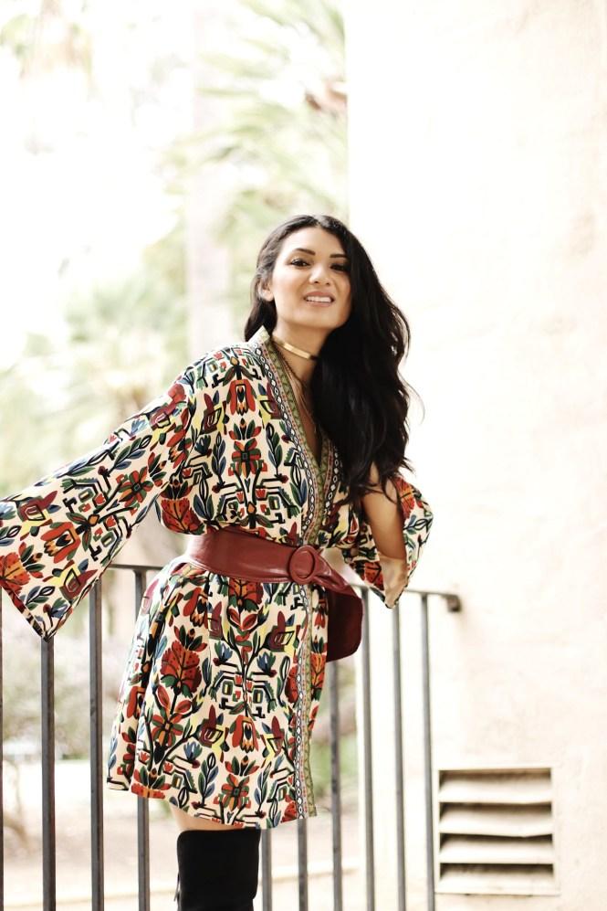 Petite and Curvy Fashion and Style Blog | SHEIN Tribal Print Jacket | Croco Print Purse | Black Fringe Boots