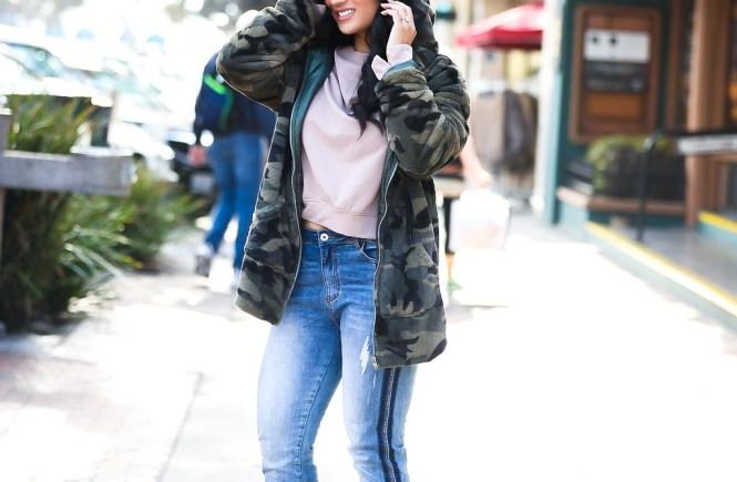 Debbie Savage | Fashion and Lifestyle Blog | TOBI Camo Jacket, Ruffled Sweatshirt, and Cropped Jeans