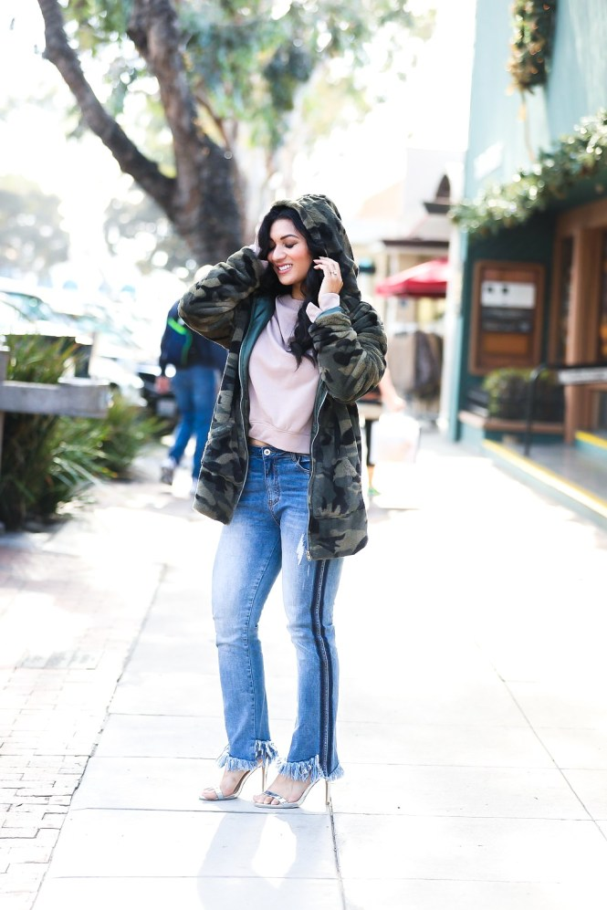 Debbie Savage | Fashion and Lifestyle Blog | TOBI Camo Jacket, Ruffled Sweatshirt, and Cropped Jeans
