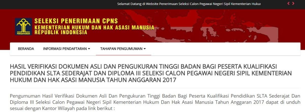 Pengumuman Hasil Tes SKB Seleksi Kompetensi Bidang Kesamaptaan CPNS KEMENKUMHAM 2017