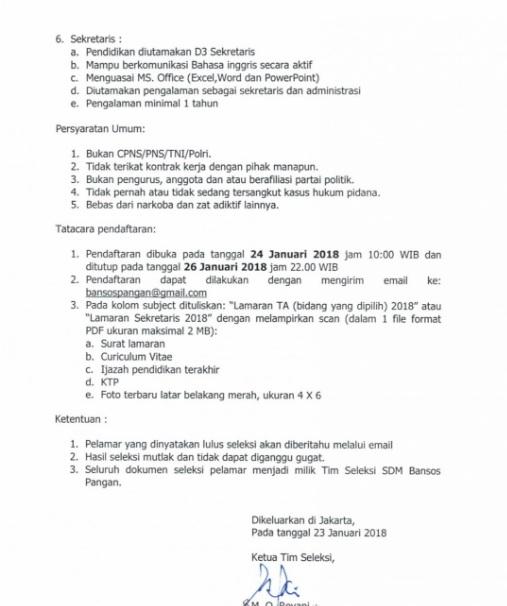 Lowongan Kerja Loker SDM Bantuan Pangan Kemensos Kementerian Sosial 2018