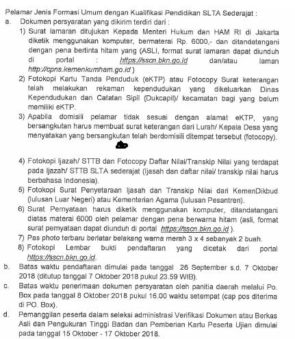 Alamat PO BOX Pengiriman Berkas Syarat CPNS Kemenkumham 2018 Lulusan SMA.