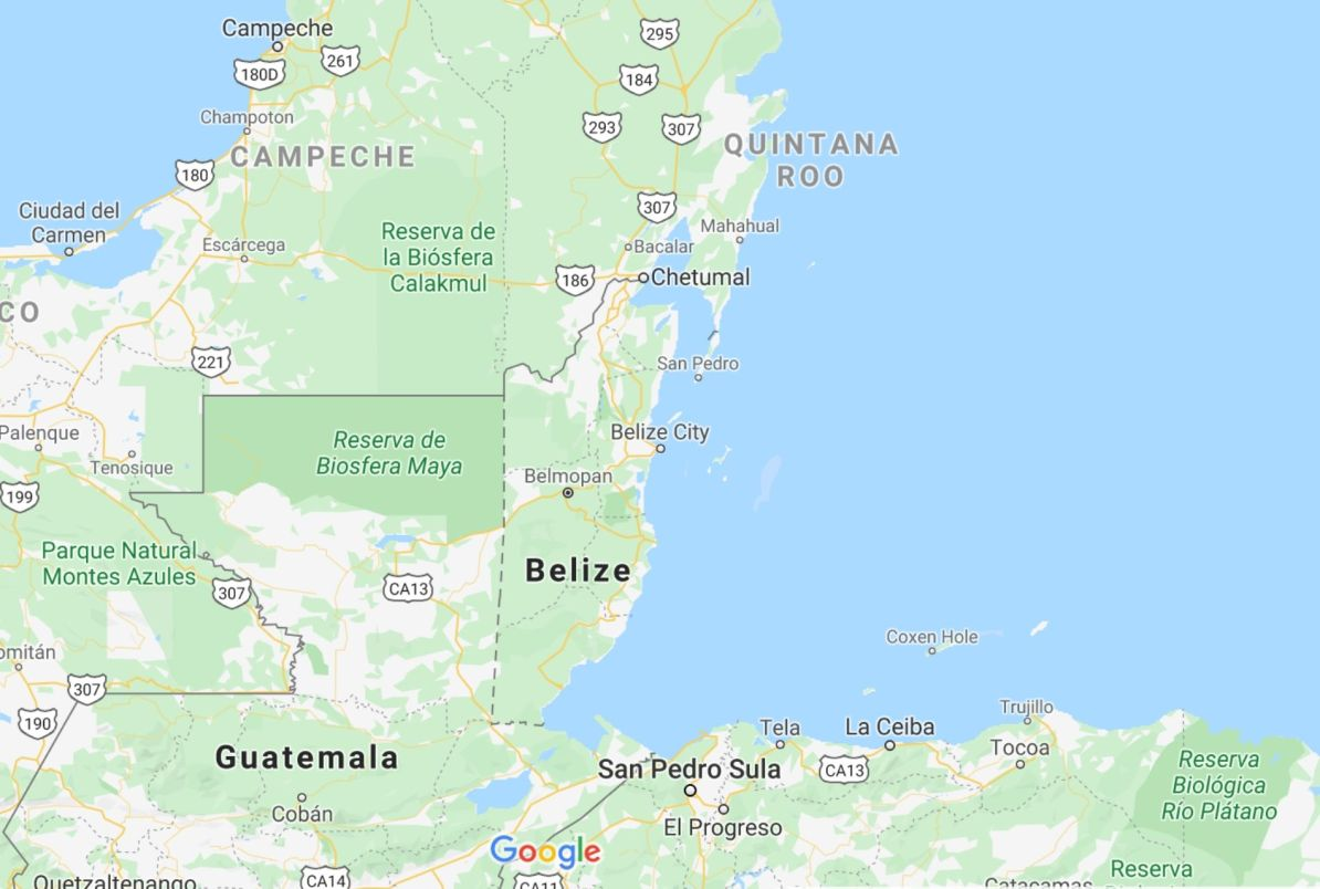 Map of Belize location