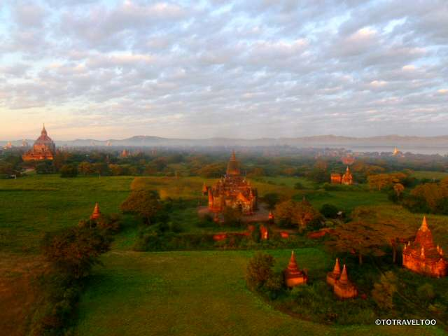 Temples and Pagodas in the early morning light over Bagan