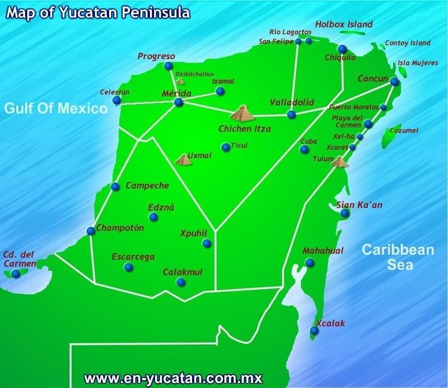 Celestun Yucatan Peninsula Map