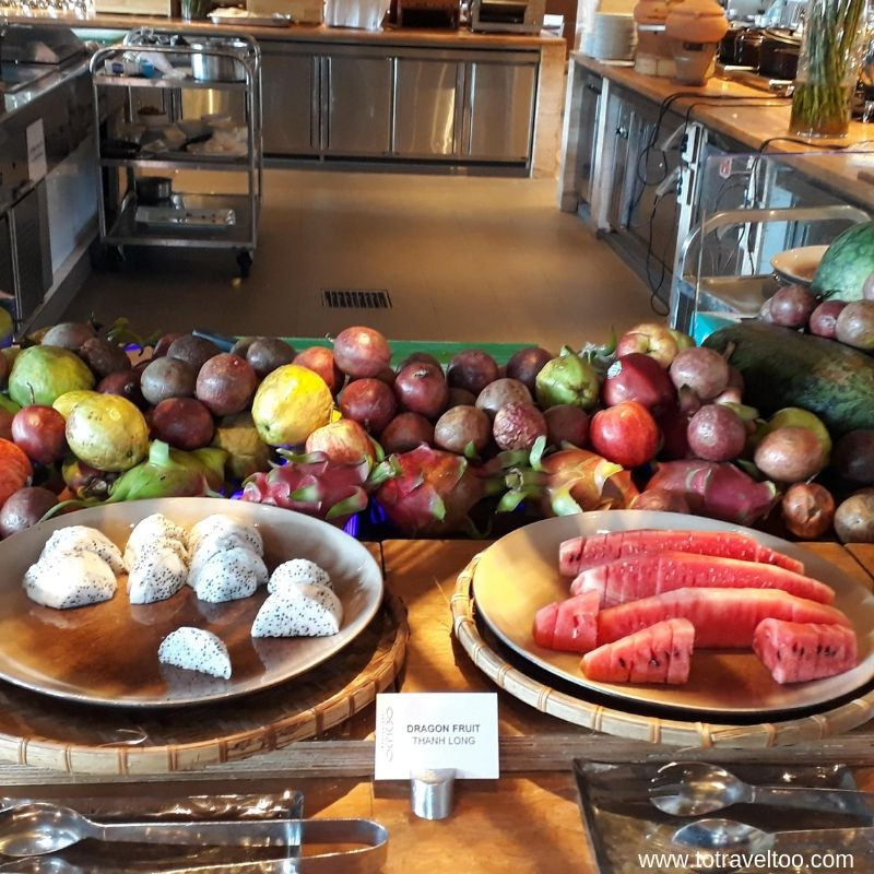Fruit breakfast buffet at the Pullman Danang Beach Resort - luxury escape in Vietnam