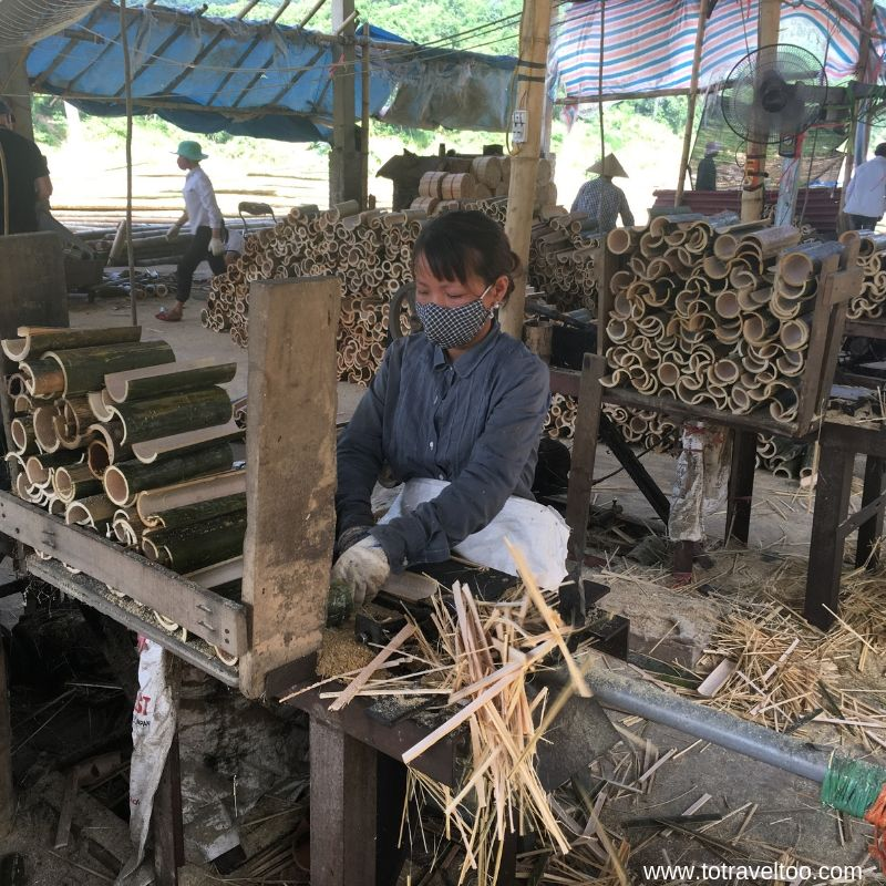 Workers in the Chopstick Factory for our guide to Mai Chau Vietnam