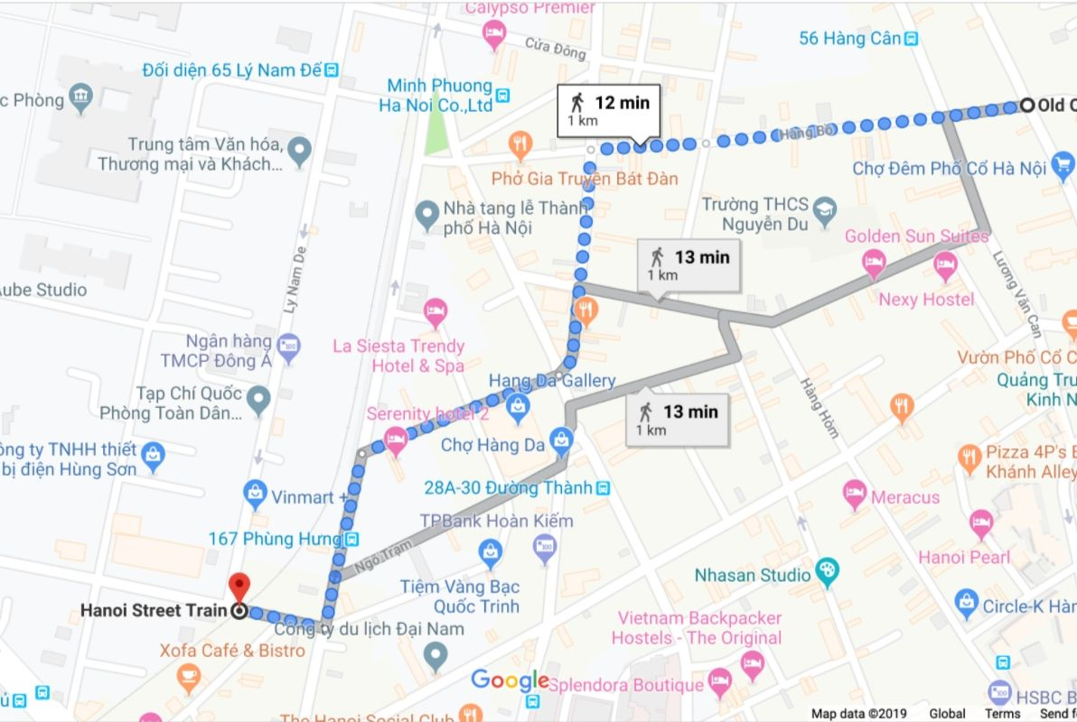 Map from Train Street to Water Puppet Theatre Hanoi