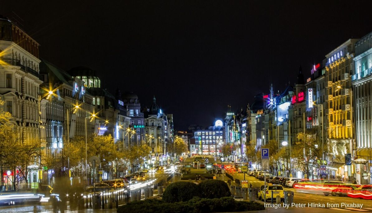 Wenceslas Square at Night