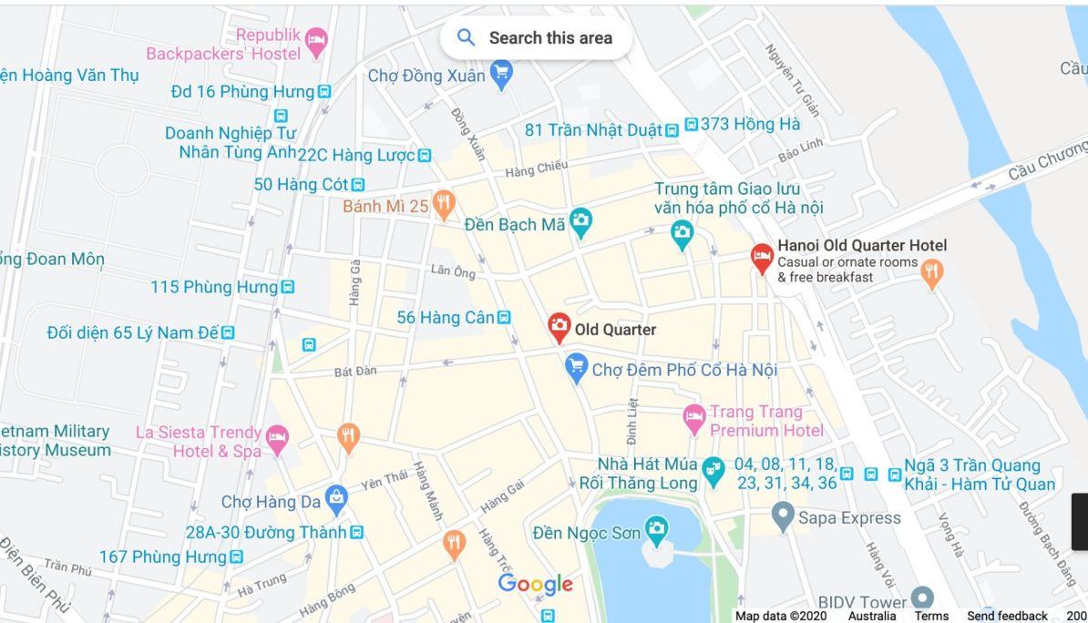 Map of Old Quarter of Hanoi