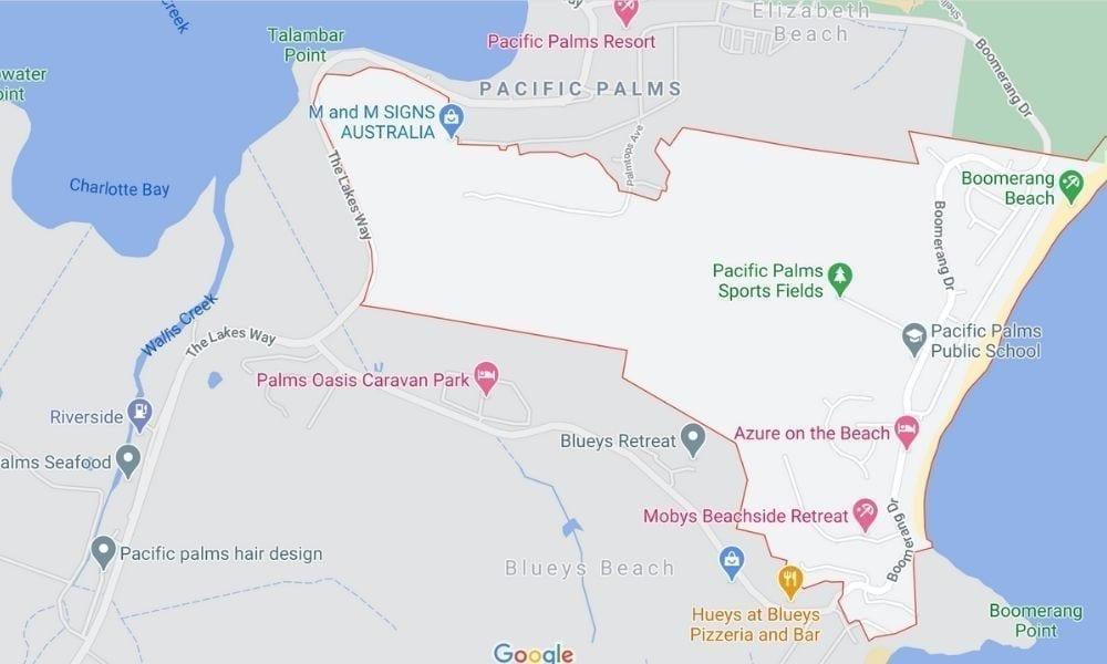 Map of Boomerang Beach