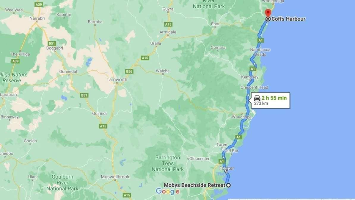 Map Boomerang Beach to Coffs Harbour