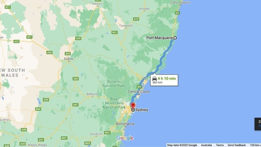 Distance Port Macquarie to Sydney