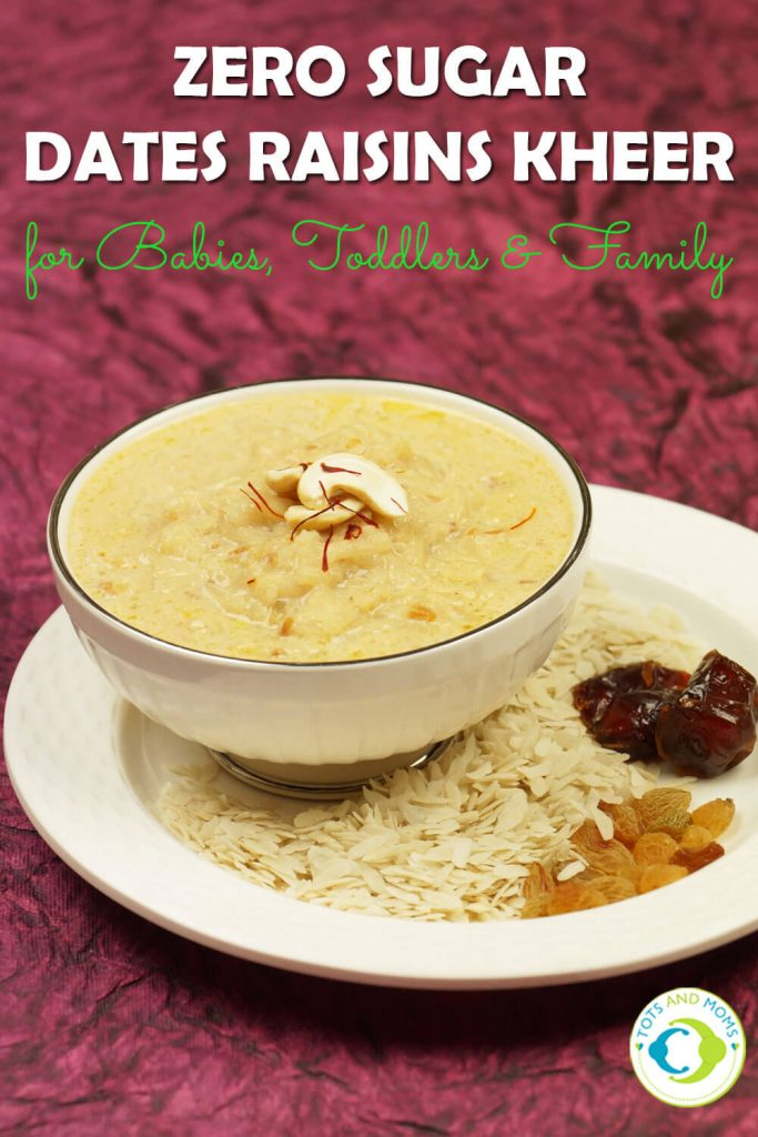 DATES & RAISINS POHA KHEER - SUGARLESS DESSERT for Babies, Toddlers, Kids & Family dates for babies dates syrup dessert