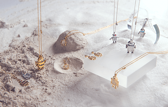 totwoo silver robot necklace