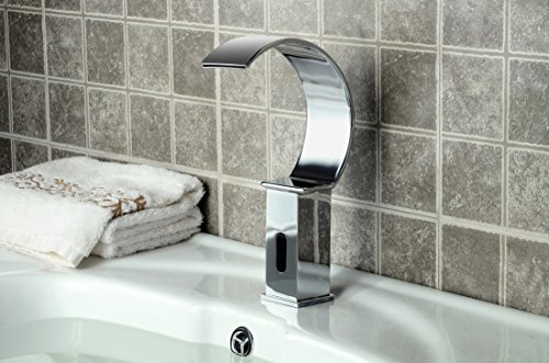 yajo modern waterfall touchfree automatic dc power bathroom vessel sink sensor faucet only cold