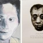 Pasolini's Mother, 2012 (esquerda) e uma das telas de Great Men (direita)