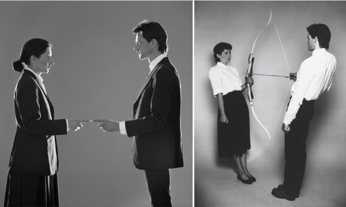 Esquerda: Marina Abramovice Ulay – That Self – Point of Contact, 1980 / Direita: Marina Abramovic e Ulay – Rest Energy
