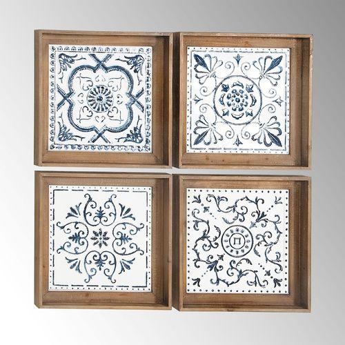 Blue Medallion Tile Style Framed Wall Art Set