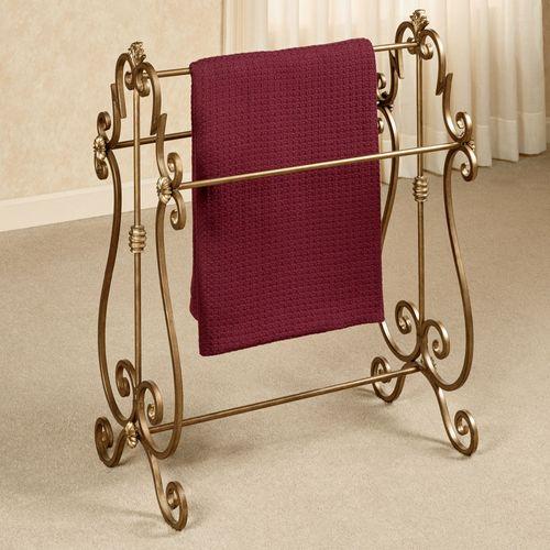esmeralda antique gold metal blanket rack