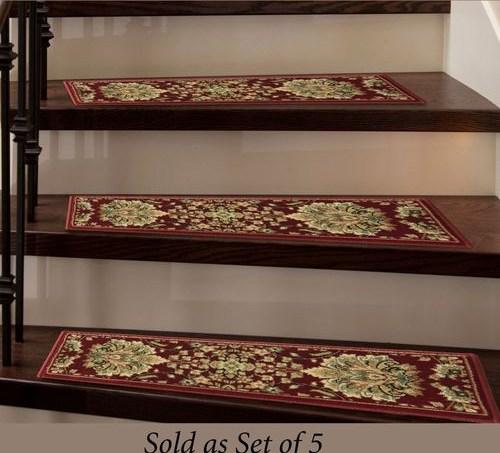 Lisbon Scarlet Indoor Carpet Stair Tread Set Of 5 With Tacks   Carpet Stair Treads Only   Wood   Hardwood   Stair Runner   Non Slip   Hardwood Floors