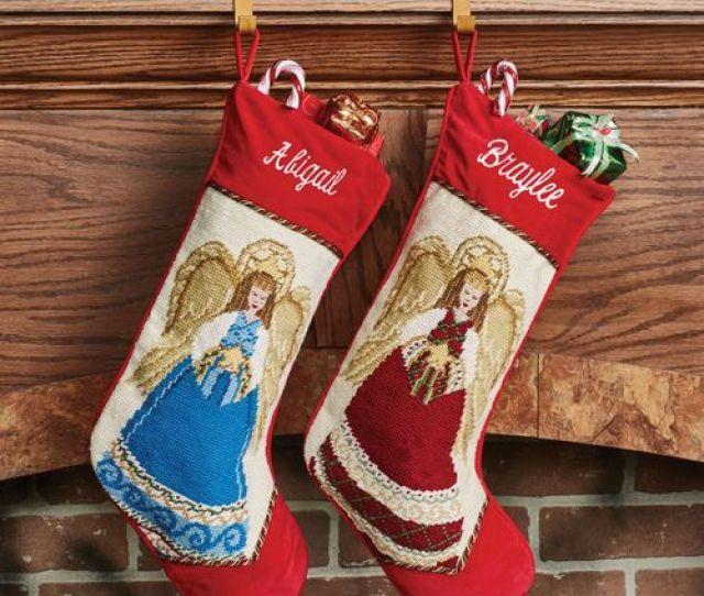 Heirloom Angel Needlepoint Christmas Stocking Red