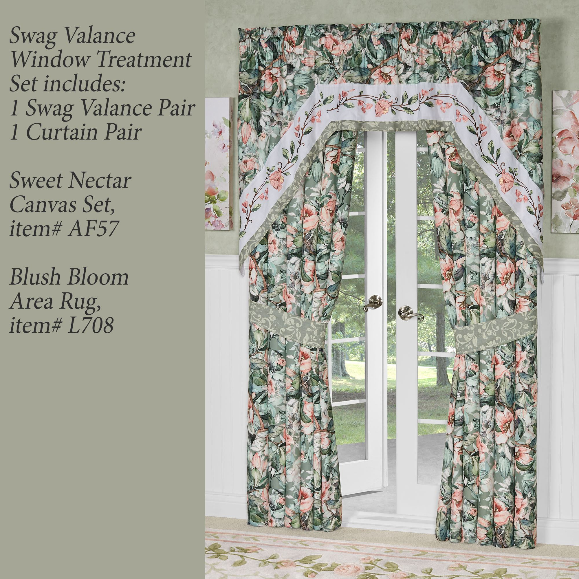 catalina floral swag window treatment set