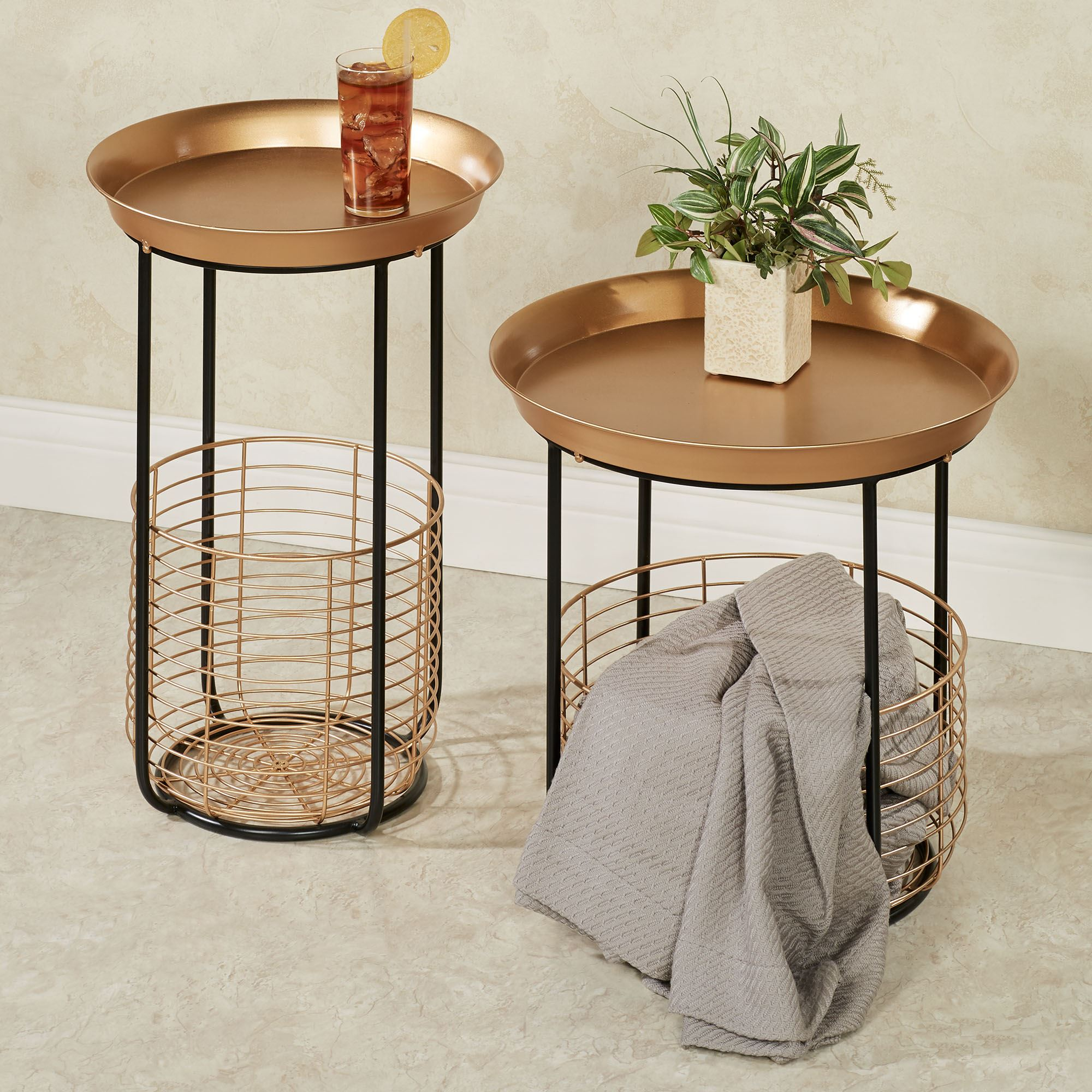 macayle round metal accent tables with wire storage baskets set