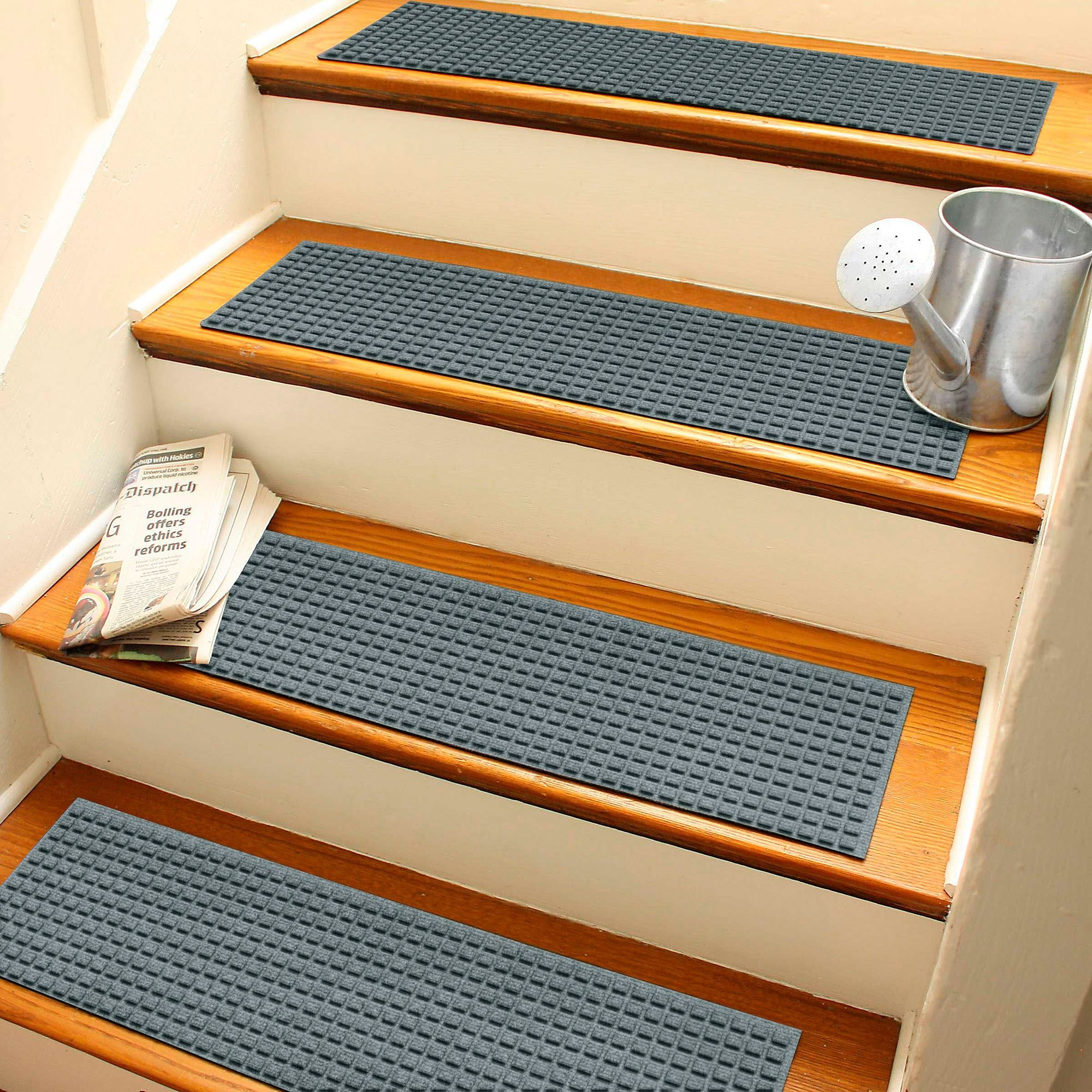 Squares Indoor Outdoor Waterhog Stair Tread Set Of 4 | Rubber Treads For Outdoor Steps | Non Slip | Diamond Plate | Rubber Cal | Recycled Rubber | Rubber Matting