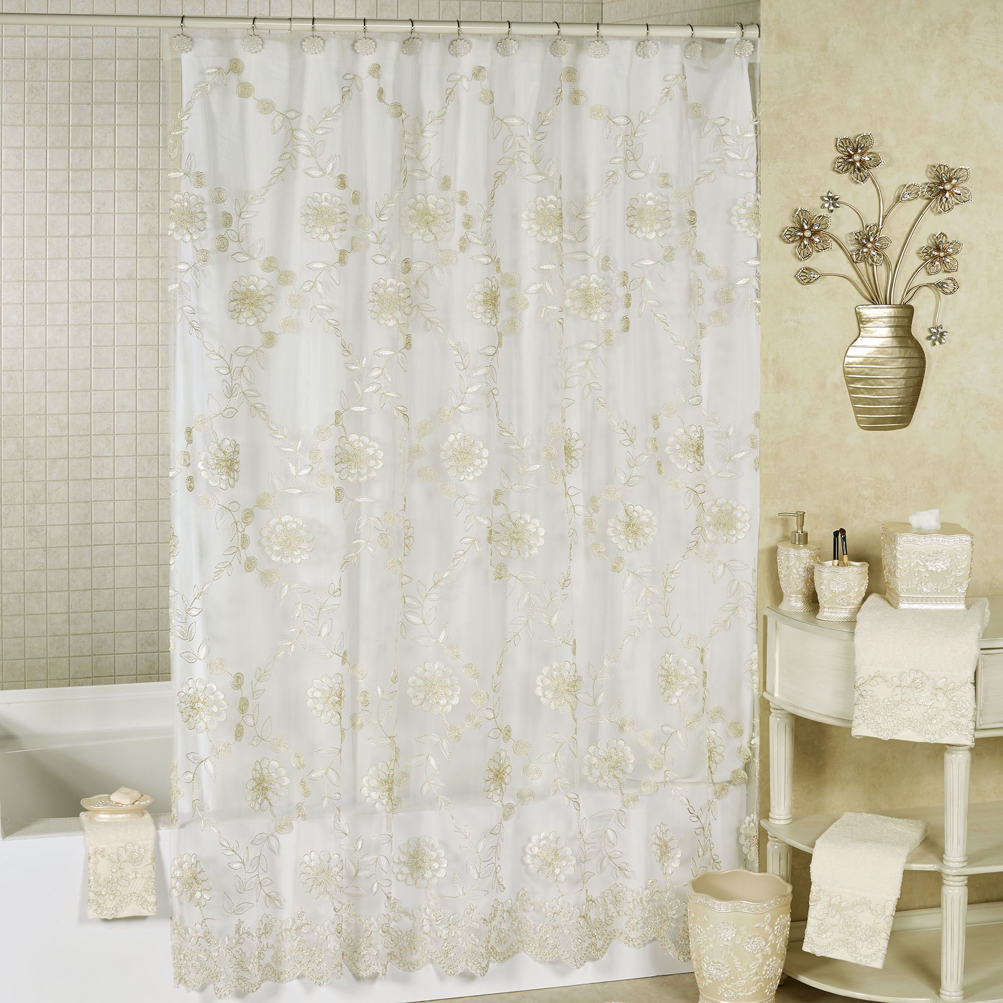 victoria sheer embroidered floral shower curtain