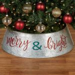 Merry And Bright Galvanized Metal Christmas Tree Collar