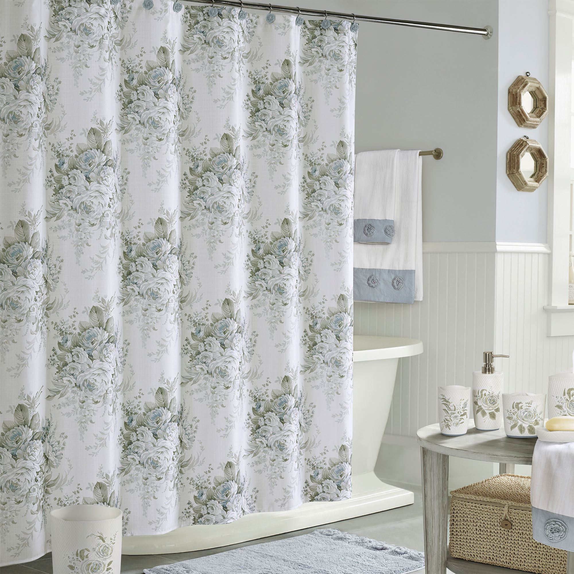 estelle rose floral shower curtain by royal court home