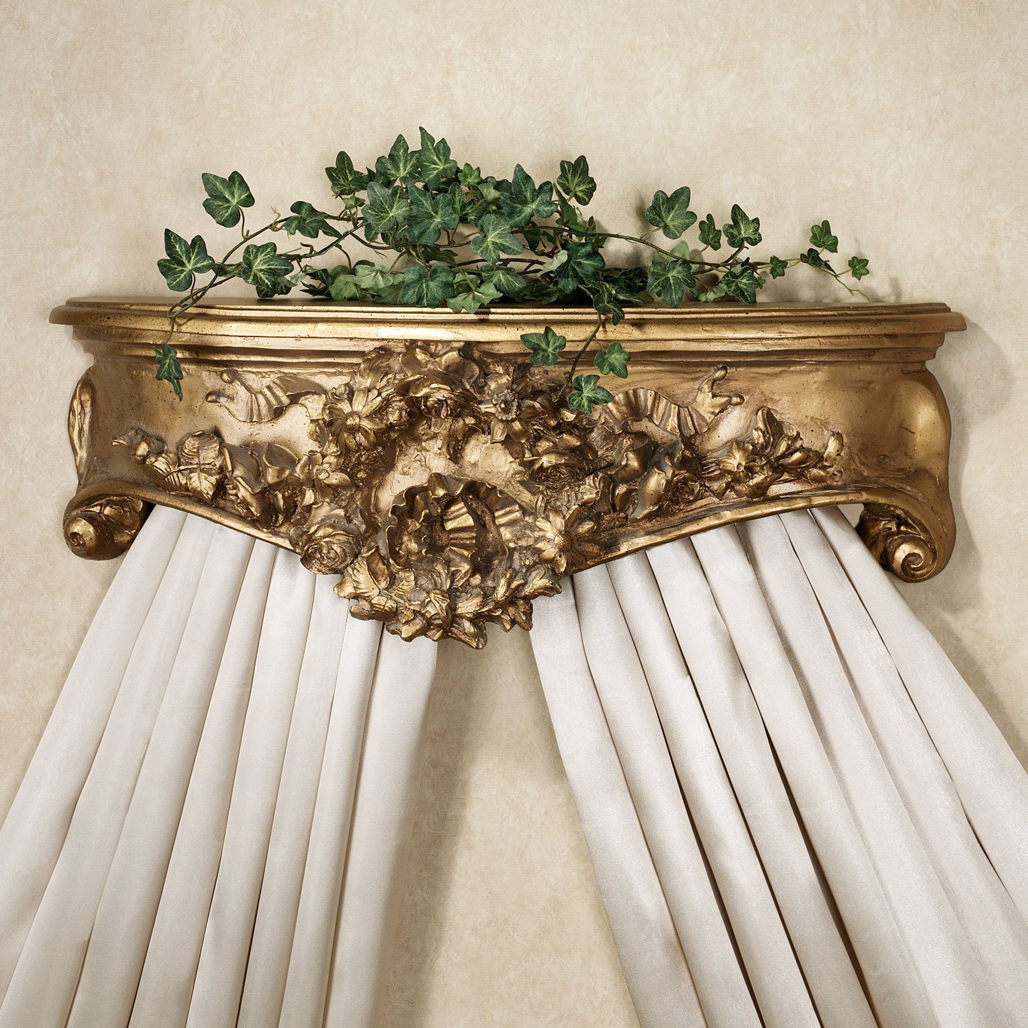 Floral Wreath Aged Gold Wall Teester Bed Crown on Wall Teester Bed Crown  id=80575
