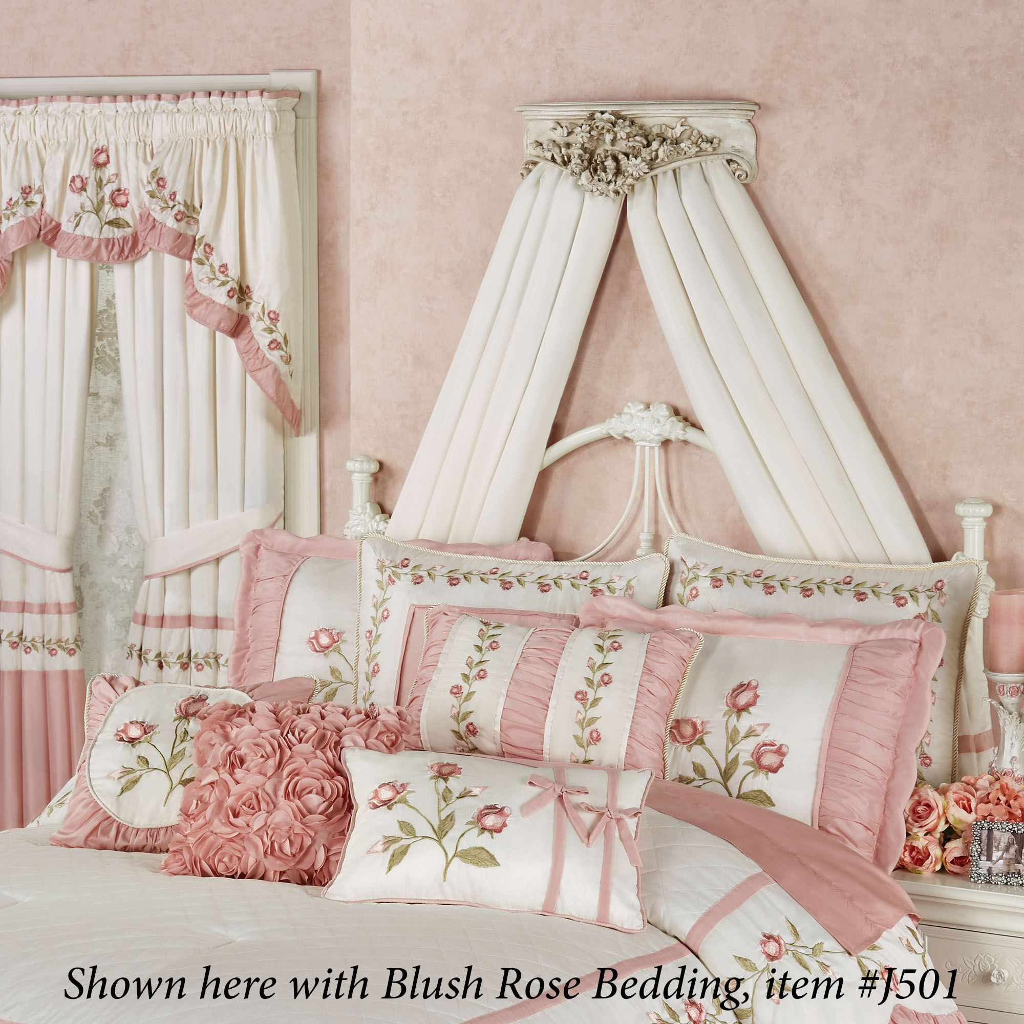 Floral Wreath Old World White Wall Teester Bed Crown on Wall Teester Bed Crown  id=77704