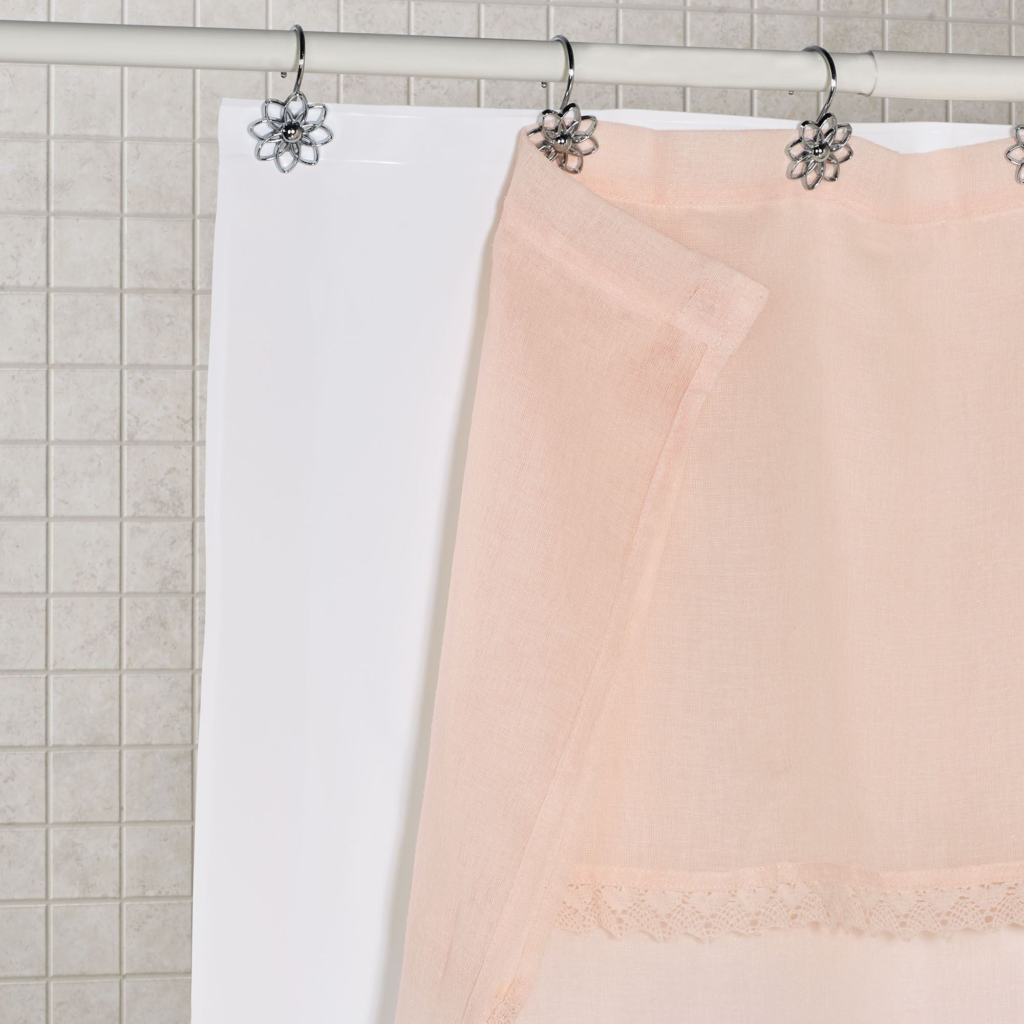 white heavy duty shower curtain liner with weighted hem